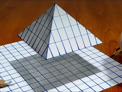 3D Trick Art on Line Paper   Floating Pyramid
