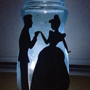 Disney Fairy jars- made on request/any silhouette-nightlight/gift