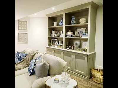 DIY bookcase storage cabinet with trims and mouldings