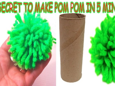 DIY crafts How to make Yarn Pom Poms Easiest Method. Secret to Make in 5 minutes with cardboard tube
