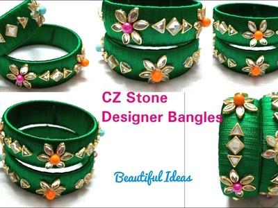 DIY.How to Make Silk thread Designer Bangles.CZ Stone Designer Bangles.Bridal Bangles.Beautiful Idea