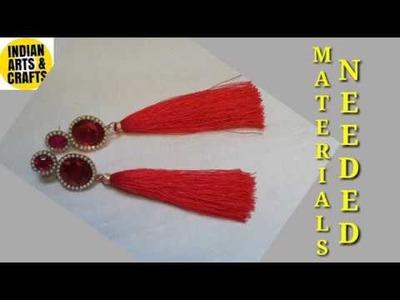 DIY - How to make Tassel earrings (silk thread)  - Jewelry making at HOME HIndi.Urdu