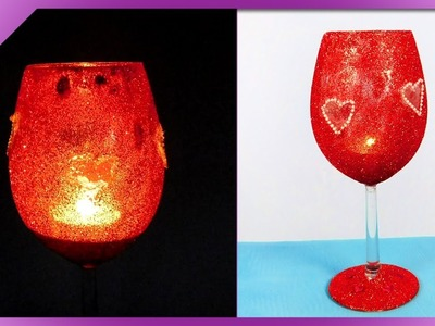 DIY How to make Valentine's Day candle holder out of wine glass (ENG Subtitles) - Speed up #451