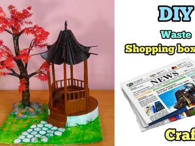 DIY Maple Tree & Summer House From Newspaper & Shopping Box