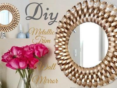 Diy Metallic Trim Wall Mirror| Inexpensive Wall Decorating Idea!