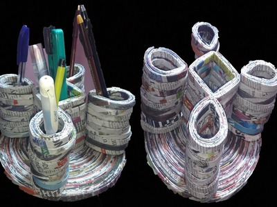 DIY | Multipurpose organizer with newspaper | Best out of Waste| How to make Pen Stand | 118