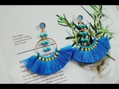 DoreenBeads Jewelry Making Tutorial - How to Make Girlish Green Loose Beads Cotton Tassel Earrings
