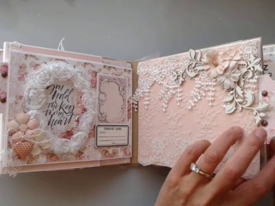 ~For Sale~ Scrapbook Mini Album using Prima's Love Story Collection & ReneaBouquets