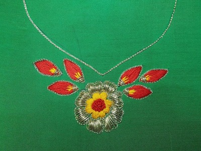 Hand Embroidery:Neckline Embroidery.Satin Stitch and Kora Work(Aari)