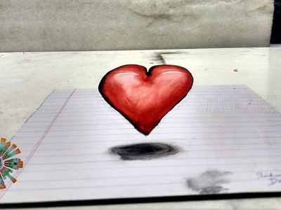 How to draw 3D Heart colour drawing. Valentine's Day special drawing.