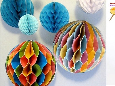 How to make a Colorful Paper Honeycomb Ball. DIY Paper easy Crafts