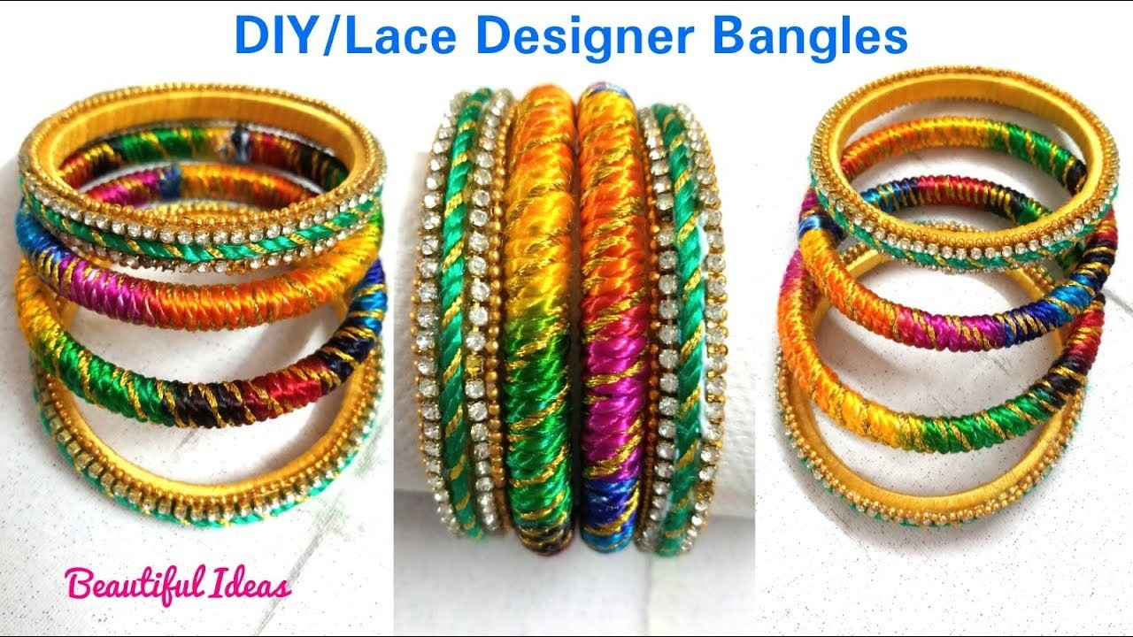 How to Make Lace Designer Bangles at Home.Multi Color Fancy Designer Bangles.Beautiful Ideas.DIY.