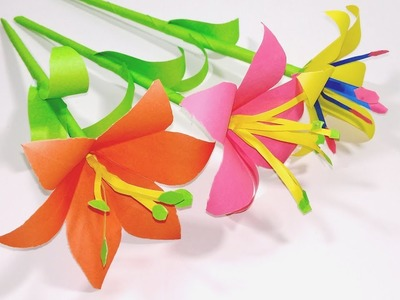 How to make lily paper flower | Easy origami paper flowers | Jarine's Crafty Creation