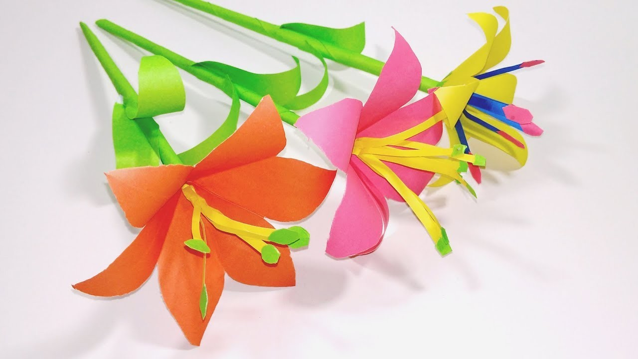 How To Make Lily Paper Flower Easy Origami Paper Flowers Jarines