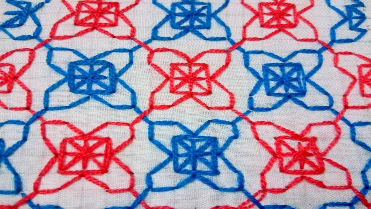 How to make nakshi katha  design hand embroidery video tutorial
