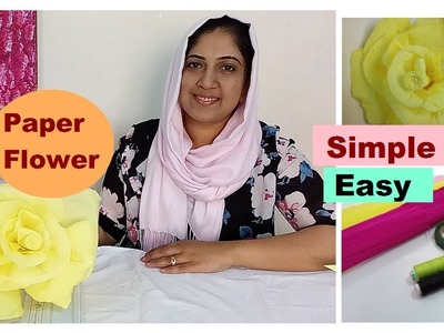 How to make paper flower.crepe paper flower.DIY. rose