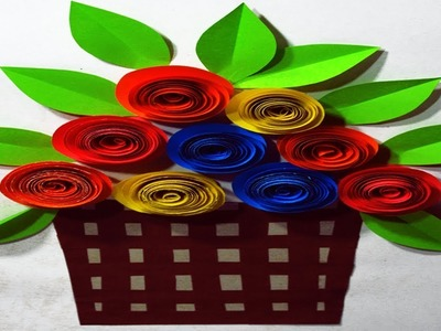 How To Make Paper Wall Hanging || DIY Paper Roses Wall Mate