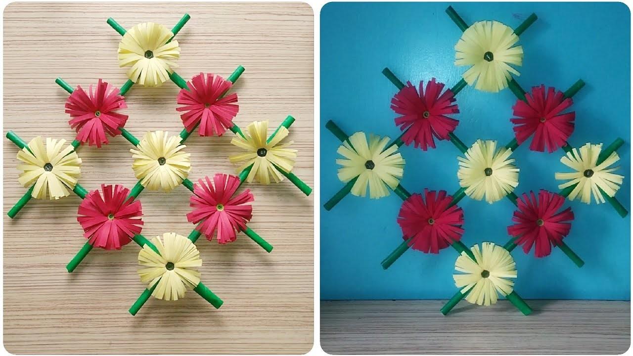 Paper flower wall hanging | Wall decoration ideas DIY handmade flowers