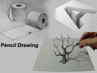 Pencil Drawing in a Paper - Make Your Drawings Looks 3D art | 2018 |