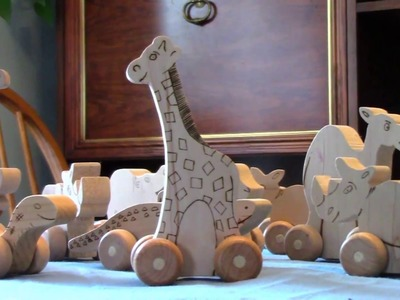 See how easy is to make wooden animals on wheels for your kids