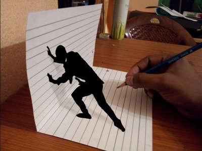 Trick Art Drawing 3D MAN. optical illusion