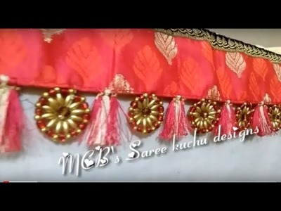 Using fancy glass beads how to make Saree kuchu design