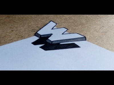 Very Easy ! How to Drawing 3D  Floating Letter  'W'    Anamorphic Ilusion