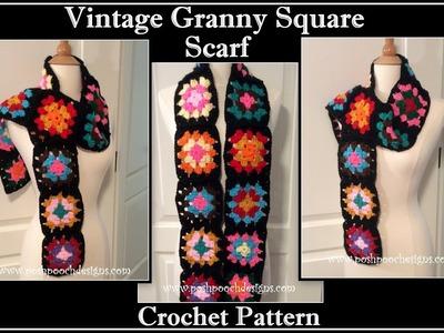 Vintage Granny Square Scarf Crochet Pattern