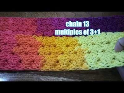 3D Tunisian crochet stitch interlaced shells