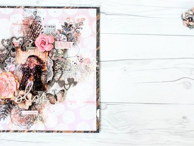 Amelia rose collection by Prima Mixed media Layout Tutorial   Easy   Voice Instructions   Aola DIY