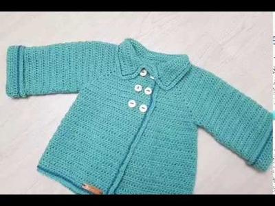 Crocheted Baby Girl Jacket - Easy for beginners