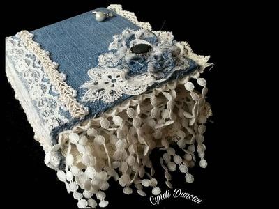 Denim Fabric Lace Book Journal