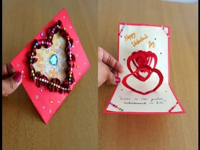 Easy & Cute Valentine's Day Pop Up Card with Double Spiral Hearts ~ DIY ~ Tutorial.Instructions
