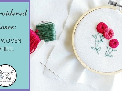 Embroidered roses: how to do a woven wheel stitch