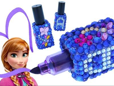 FROZEN ANNA BRIGHT HIGHLIGHTER NAIL POLISH NEON PURPLE Bottle Gems Glitter Butterfly Star Make DIY