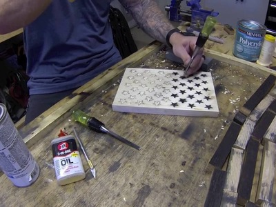 Hand Carving Stars for the American Flag Diresta Style