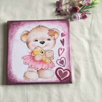 Hand Crafted cute Teddy canvas wall art