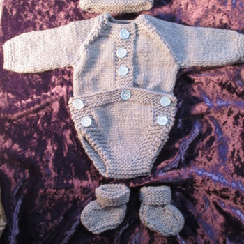 Hand knitted Bodysuit for Baby Reborn 17-19 Inch Doll Denim Blue