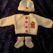 Hand knitted Jacket Hat & Socks set for Baby Reborn 17-19 Inch Doll Cream/Strawberry Ted