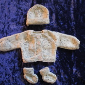Hand knitted Jacket Hat & Socks set for Baby Reborn 17-19 Inch Doll Tweed Aran 25% Wool