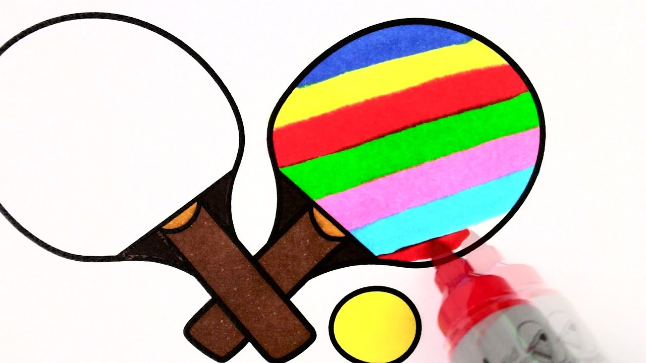 How To Draw Ping-pong Racket & Ball   Coloring Page For Kids