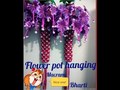 How to make .flower pot hanging new design .at home beautiful design  . Nisha bhati macrame art