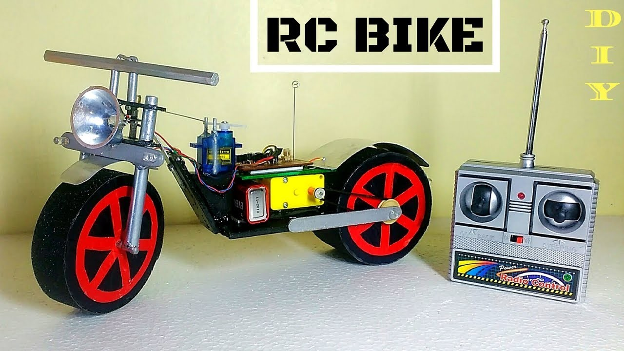 How To Make RC Motorcycle  at Home Version 2 Easy and Fast     DIY    RC bike
