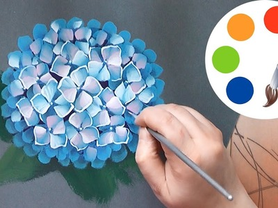 How to paint a Hydrangea, painting by a flat brush