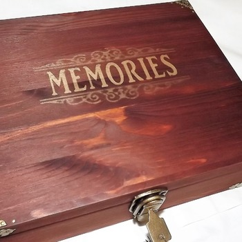 LARGE BESPOKE WOODEN LOCKABLE RUSTIC MEMORY BOX with Brass box corners. Wooden box with lock and key.