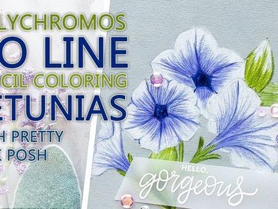 No Line Polychromos Pencil Coloring - Pretty Petunias by Pretty Pink Posh