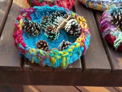 Saori crochet bowls made with T-shirt yarn and glazed with handspun art yarn Eve Starr Fiber arts