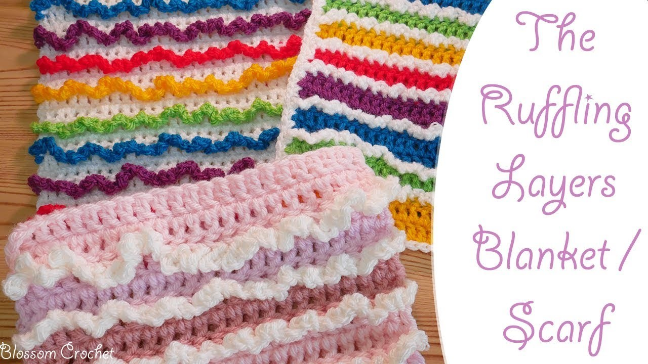 Simple Crochet: Ruffling Layers Blanket. Scarf (great for beginners too!)