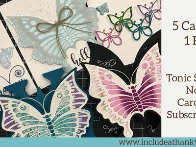 5 Cards - 1 Kit | Tonic Studios No.6 Craft-Card Kit 2018 | Butterflies and Blue!