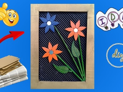 Art and craft Wall decor frame made with Newspaper & cardboard | best out of waste